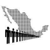 Mexican workforce with map Royalty Free Stock Photography