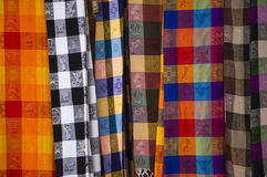 Mexican Woven Blanket. Mexican weaving for sale in the market Stock Images