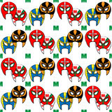 Mexican wrestler mask  pattern Stock Images