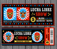 Mexican wrestler set. Lucha Libre. Set of vintage Lucha Libre tickets. Vector illustration Stock Photo