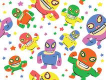 Mexican Wrestlers Seamless Pattern Stock Photo
