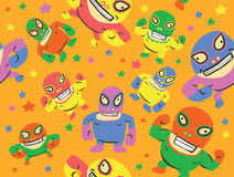 Mexican Wrestlers Seamless Pattern Royalty Free Stock Photography
