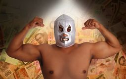 Mexican wrestling mask silver fighter gesture stock photos