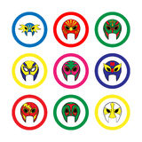 Mexican wrestling masks icon on a white background Stock Image