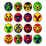 Mexican wrestling Masks set Stock Photos