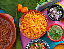 Mexican yellow rice with chilis and frijoles Royalty Free Stock Photo