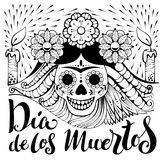 Mexican zentangle Dia de los Muertos text. Day of the Dead. Human skull and burning candles. Vector illustration Stock Images