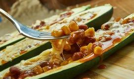 Mexican Zucchini Burrito Boats. Close up royalty free stock photo