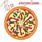 Mexicana пиццы с рукописным титром иллюстрация штока