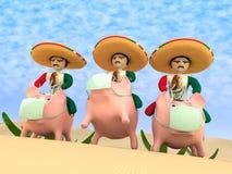 Mexicanen van een sombrero stock illustratie