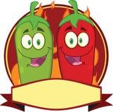 Mexicano Chili Peppers Cartoon Mascot Label Fotos de Stock Royalty Free