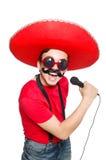 Mexicano divertido con el mic Fotos de archivo libres de regalías