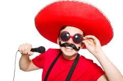 Mexicano divertido con el mic Foto de archivo