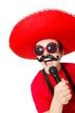 Mexicano divertido con el mic Imagen de archivo