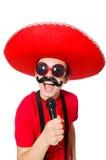 Mexicano divertido con el mic Imágenes de archivo libres de regalías