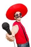 Mexicano divertido con el mic aislado Imagen de archivo libre de regalías