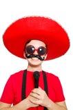 Mexicano divertido con el mic aislado Fotos de archivo libres de regalías