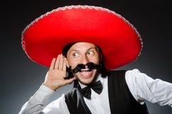 Mexicano divertido con el sombrero Foto de archivo