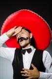 Mexicano divertido con el sombrero Fotografía de archivo