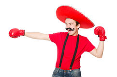 Mexicano divertido con los guantes del boxeador Imagenes de archivo