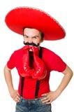 Mexicano divertido con los guantes del boxeador aislados Fotografía de archivo