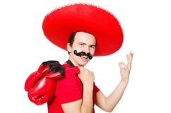 Mexicano divertido con los guantes del boxeador aislados Fotografía de archivo libre de regalías
