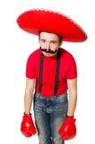 Mexicano divertido con los guantes del boxeador aislados Foto de archivo libre de regalías