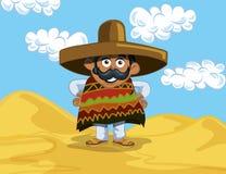 Mexicano dos desenhos animados no deserto ilustração stock