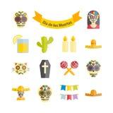 Mexicano el día de los iconos planos del vector Dead Dia de los Muertos Fotos de archivo libres de regalías