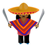 Mexicano em um sombreiro e em um alho-porro com um machete em sua mão Imagem de Stock Royalty Free