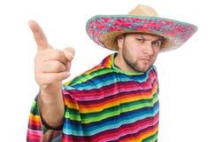 Mexicano engraçado isolado no branco Fotos de Stock Royalty Free