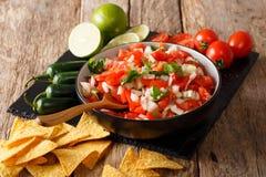 Mexicano Pico de Gallo con los ingredientes primer y nachos Horiz imagen de archivo libre de regalías
