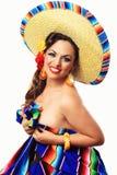 Mexicano sonriente Pin Up Girl Imagen de archivo libre de regalías