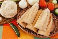 Mexicanos der gefüllten Maismehltaschen, mexikanische Bestandteile der gefüllten Maismehltasche, würzige Nahrung in Mexiko lizenzfreie stockbilder