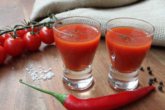 Mexicans - beverage with tomatoes and spices like chillies Stock Image
