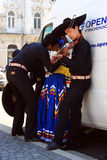 Mexicans at a festival. Young Mexican in traditional costume getting ready for a concert! This concert was hold during a Hungarian Festival in Cluj Napoca stock images