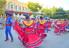 Mexicans spirited dance. Mexican people dancing at Varna square,Bulgaria during Parade of 23rd International Folklore Festival participants.August 3rd 2014 Stock Photo