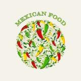 Mexicansk bakgrund för matbegreppsillustration Royaltyfri Bild