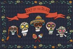 Mexicansk dag av den döda affischen illustratören för illustrationen för handen för borstekol gör teckningen tecknade som look pa Fotografering för Bildbyråer