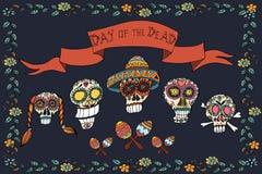 Mexicansk dag av den döda affischen illustratören för illustrationen för handen för borstekol gör teckningen tecknade som look pa vektor illustrationer