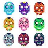 Mexicansk dag av den döda begreppsvektorillustrationen Muerte festival Färgrika uppsättningskallar på vit bakgrund royaltyfri illustrationer