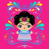 Mexicansk docka med dekorativ bakgrund Royaltyfri Bild