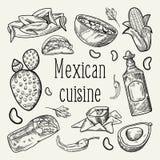 Mexicansk dragit skisserat klotter för mat hand Mexico traditionell kokkonst vektor illustrationer