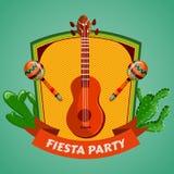 Mexicansk Fiestapartiaffisch med maracas, mexikansk gitarr och kakturs Reklamblad eller mall för hälsningkort stock illustrationer