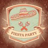 Mexicansk Fiestapartietikett med maracas, sombrero Räcka den utdragna vektorillustrationaffischen med grungebakgrund vektor illustrationer