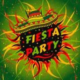 Mexicansk Fiestapartietikett med sombreron och konfettier Räcka den utdragna vektorillustrationaffischen med grungebakgrund Arkivbild