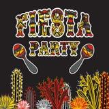 Mexicansk Fiestapartiinbjudan med maracas, kakturs och färgrik etnisk stam- utsmyckad titel Hand dragit vektorillustrationpos. royaltyfri illustrationer