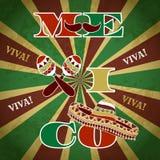 Mexicansk Fiestapartiinbjudan med maracas, sombreron och mustaschen Hand dragen vektorillustrationaffisch 'Viva Mexico', stock illustrationer