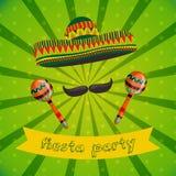 Mexicansk Fiestapartiinbjudan med maracas, sombreron och mustaschen Hand tecknad vektorillustration vektor illustrationer