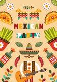 Mexicansk folk kortinbjudan Arkivfoton